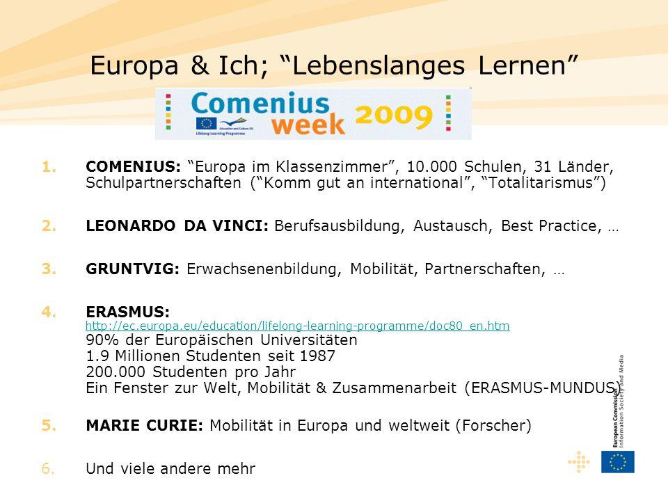Europa & Ich; Lebenslanges Lernen 1.COMENIUS: Europa im Klassenzimmer, 10.000 Schulen, 31 Länder, Schulpartnerschaften (Komm gut an international, Tot
