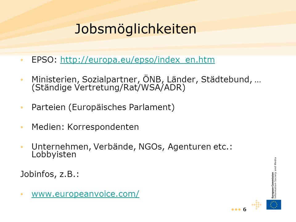 6 Jobsmöglichkeiten EPSO: http://europa.eu/epso/index_en.htmhttp://europa.eu/epso/index_en.htm Ministerien, Sozialpartner, ÖNB, Länder, Städtebund, …