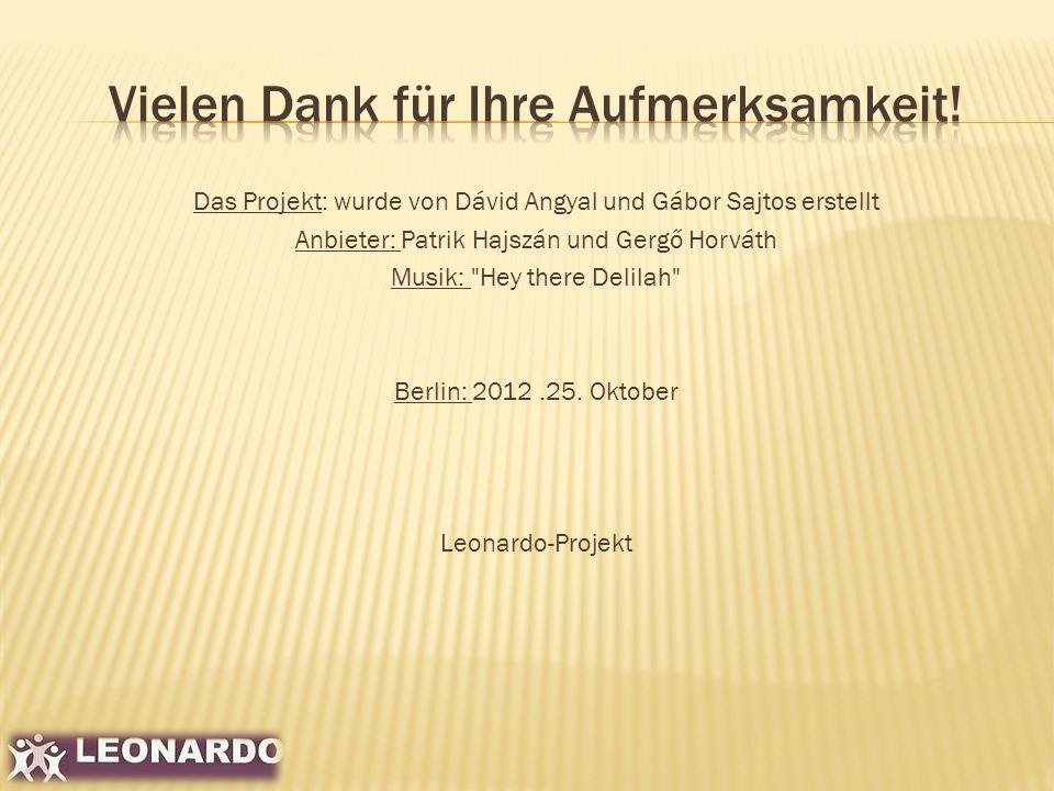 Das Projekt: wurde von Dávid Angyal und Gábor Sajtos erstellt Anbieter: Patrik Hajszán und Gergő Horváth Musik: Hey there Delilah Berlin: 2012.25.