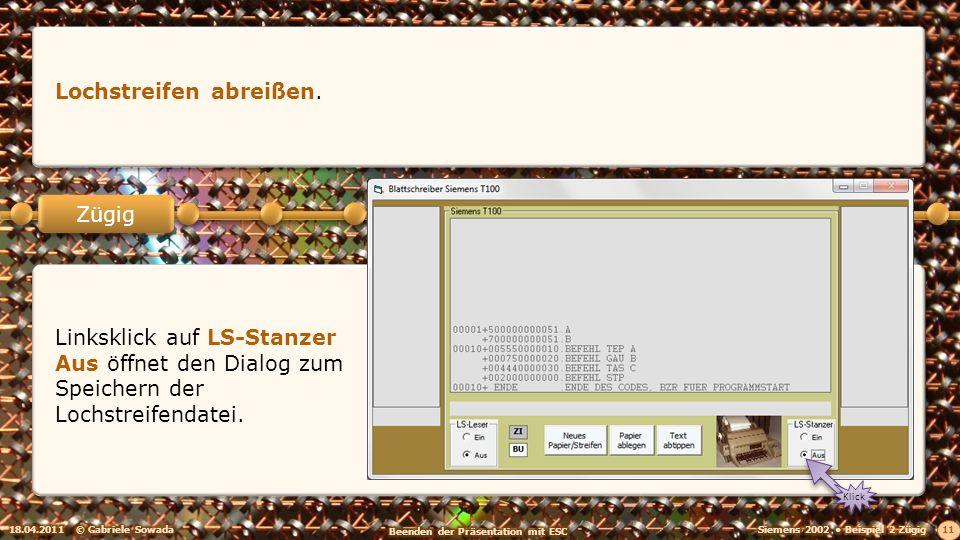 18.04.2011© Gabriele Sowada 11 Zügig Lochstreifen abreißen.