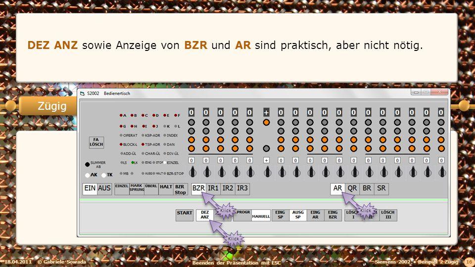 18.04.2011© Gabriele Sowada 16 Zügig DEZ ANZ sowie Anzeige von BZR und AR sind praktisch, aber nicht nötig.