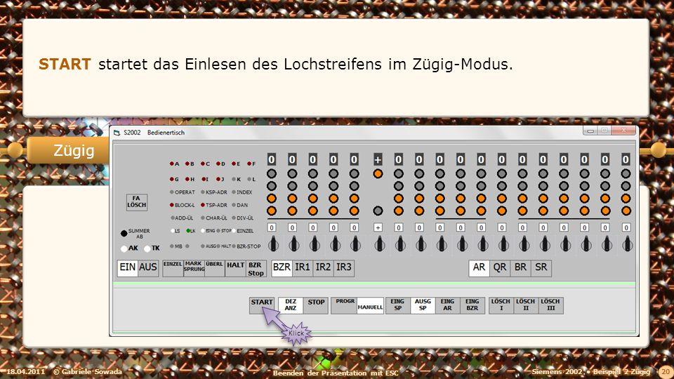 18.04.2011© Gabriele Sowada 20 Zügig START startet das Einlesen des Lochstreifens im Zügig-Modus.