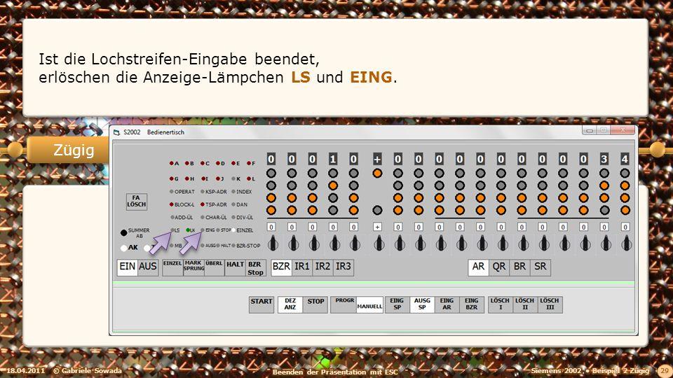 18.04.2011© Gabriele Sowada 29 Zügig Ist die Lochstreifen-Eingabe beendet, erlöschen die Anzeige-Lämpchen LS und EING.