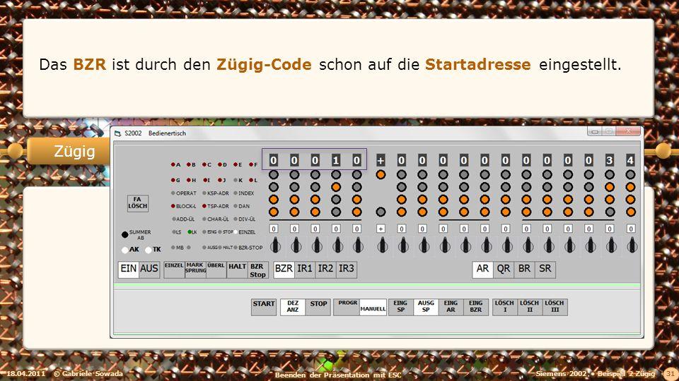 18.04.2011© Gabriele Sowada 31 Zügig Das BZR ist durch den Zügig-Code schon auf die Startadresse eingestellt.