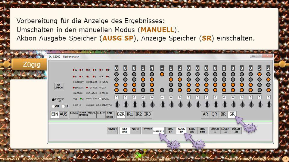 18.04.2011© Gabriele Sowada 35 Zügig Vorbereitung für die Anzeige des Ergebnisses: Umschalten in den manuellen Modus (MANUELL).