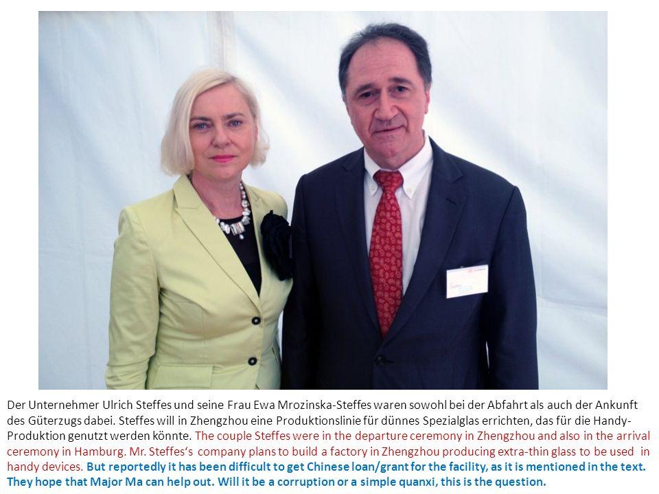 Der Unternehmer Ulrich Steffes und seine Frau Ewa Mrozinska-Steffes waren sowohl bei der Abfahrt als auch der Ankunft des Güterzugs dabei. Steffes wil