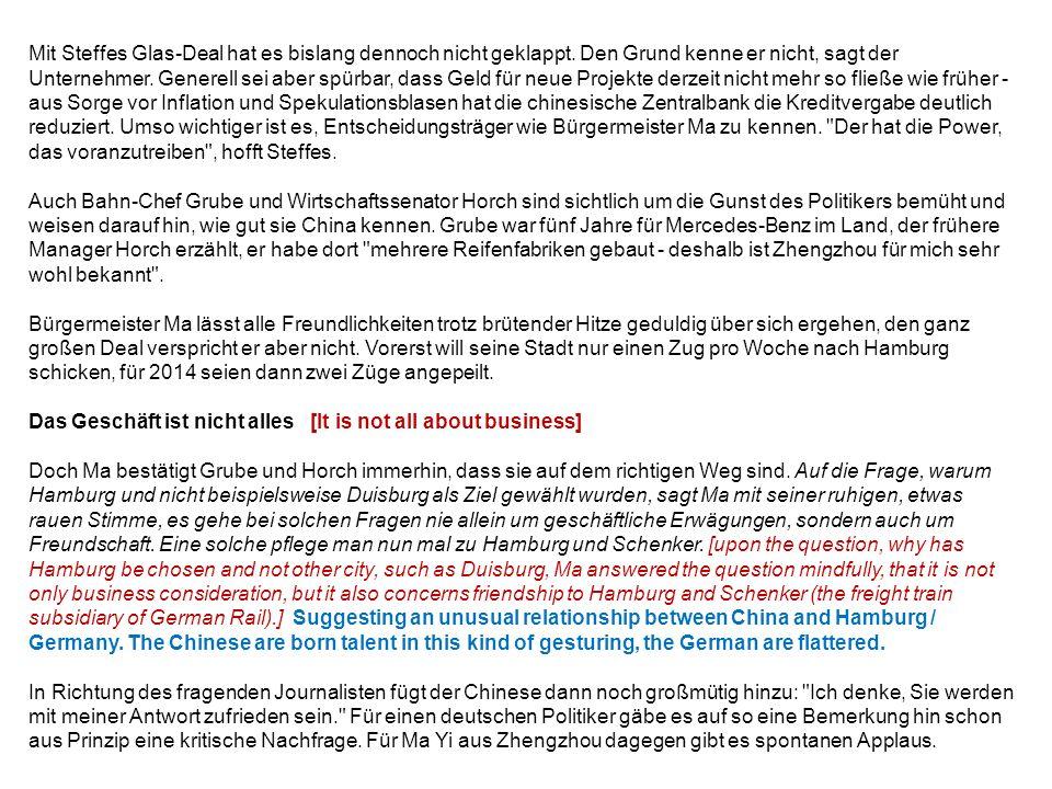 Akrobatisch: Bahn-Chef Rüdiger Grube begrüßt in Hamburg-Billwerder einen Güterzug aus dem chinesischen Zhengzhou.