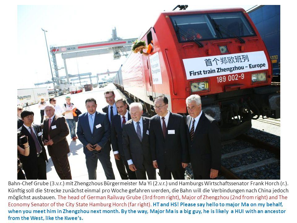 Bahn-Chef Grube (3.v.r.) mit Zhengzhous Bürgermeister Ma Yi (2.v.r.) und Hamburgs Wirtschaftssenator Frank Horch (r.). Künftig soll die Strecke zunäch