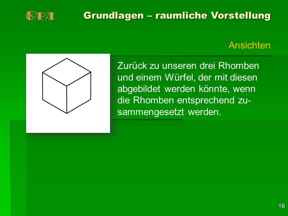 16 Grundlagen – raumliche Vorstellung Zurück zu unseren drei Rhomben und einem Würfel, der mit diesen abgebildet werden könnte, wenn die Rhomben entsp