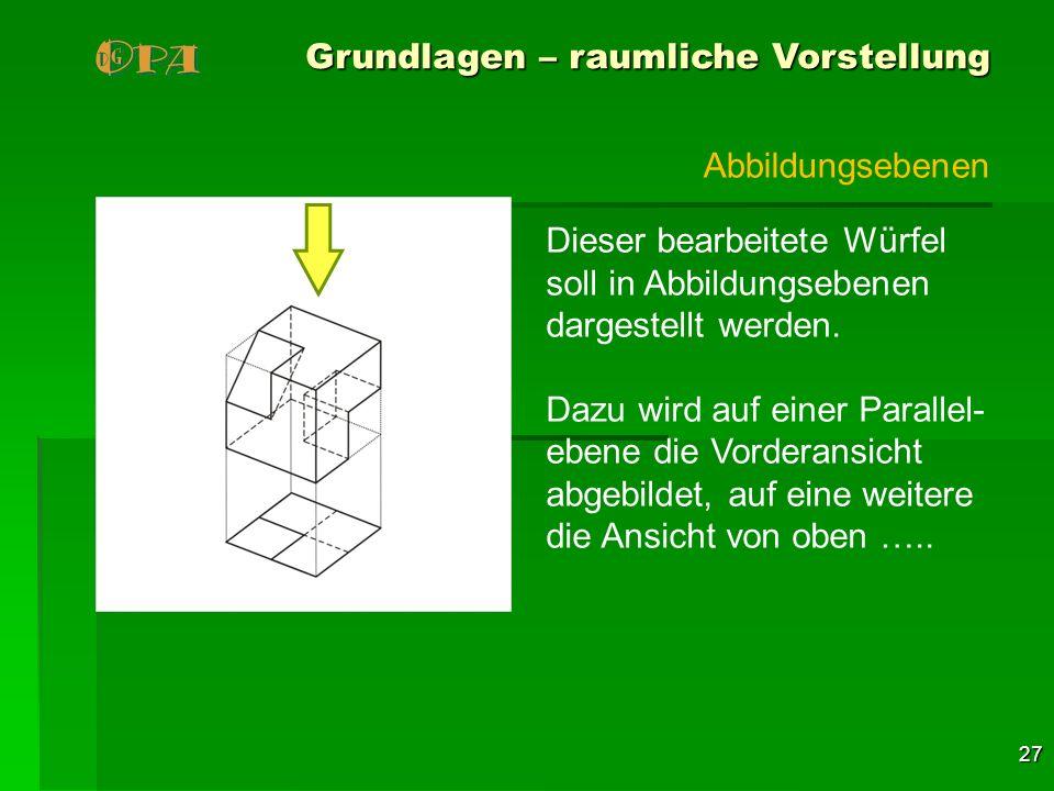 27 Grundlagen – raumliche Vorstellung Dieser bearbeitete Würfel soll in Abbildungsebenen dargestellt werden. Dazu wird auf einer Parallel- ebene die V