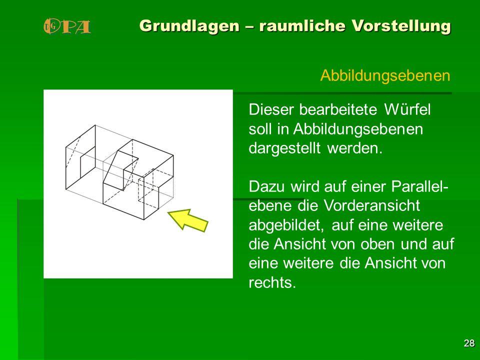 28 Grundlagen – raumliche Vorstellung Dieser bearbeitete Würfel soll in Abbildungsebenen dargestellt werden. Dazu wird auf einer Parallel- ebene die V