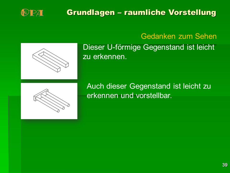 39 Grundlagen – raumliche Vorstellung Dieser U-förmige Gegenstand ist leicht zu erkennen. Auch dieser Gegenstand ist leicht zu erkennen und vorstellba