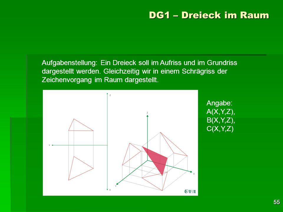 55 DG1 – Dreieck im Raum Aufgabenstellung: Ein Dreieck soll im Aufriss und im Grundriss dargestellt werden. Gleichzeitig wir in einem Schrägriss der Z
