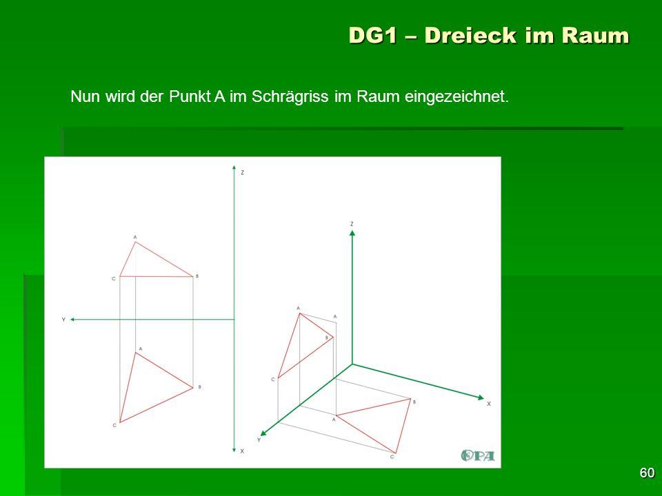 60 DG1 – Dreieck im Raum Nun wird der Punkt A im Schrägriss im Raum eingezeichnet.