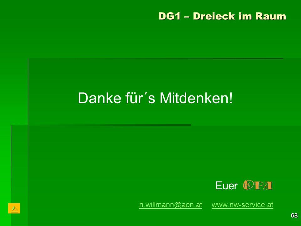 68 Danke für´s Mitdenken! DG1 – Dreieck im Raum n.willmann@aon.atn.willmann@aon.at www.nw-service.atwww.nw-service.at Euer