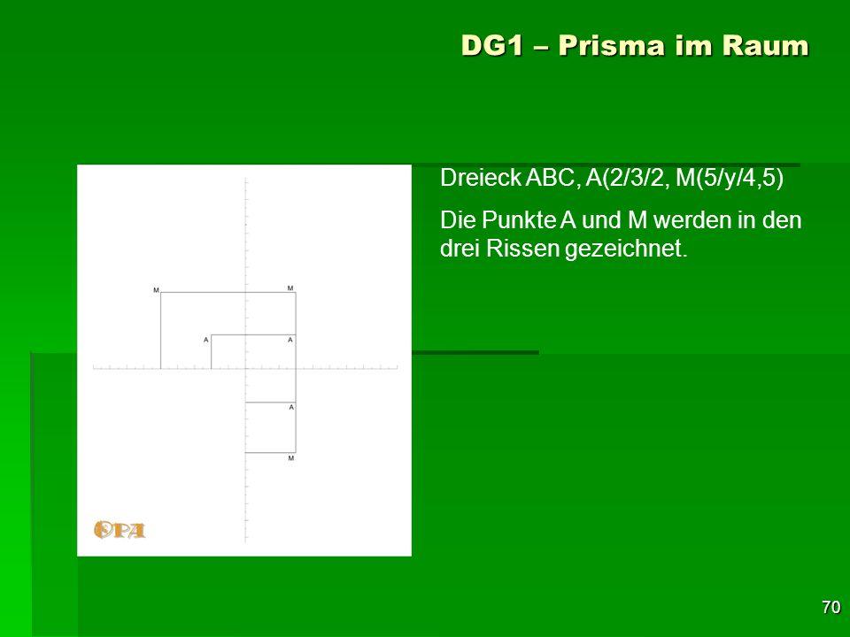 70 DG1 – Prisma im Raum Dreieck ABC, A(2/3/2, M(5/y/4,5) Die Punkte A und M werden in den drei Rissen gezeichnet.