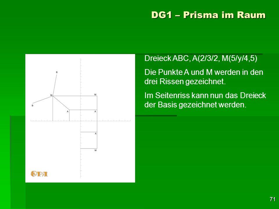 71 DG1 – Prisma im Raum Dreieck ABC, A(2/3/2, M(5/y/4,5) Die Punkte A und M werden in den drei Rissen gezeichnet. Im Seitenriss kann nun das Dreieck d
