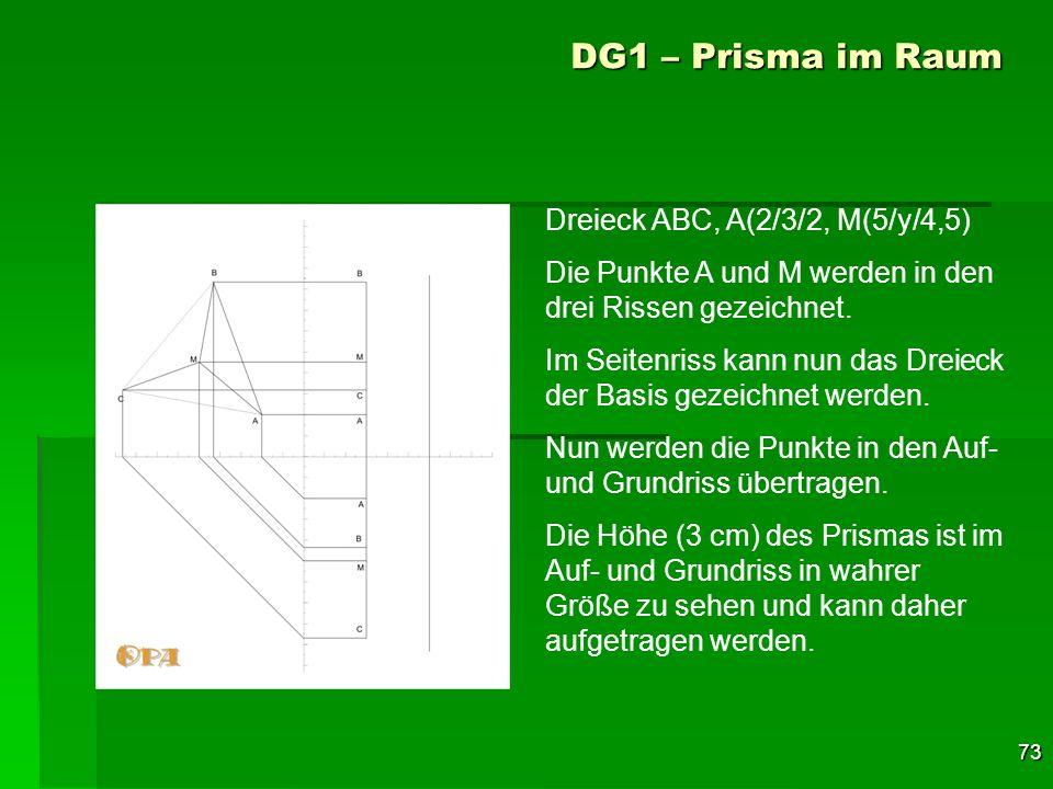 73 DG1 – Prisma im Raum Dreieck ABC, A(2/3/2, M(5/y/4,5) Die Punkte A und M werden in den drei Rissen gezeichnet. Im Seitenriss kann nun das Dreieck d