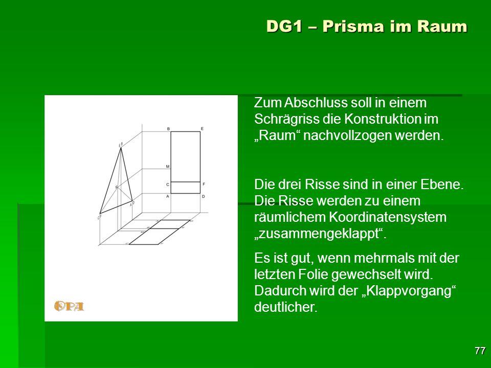 77 DG1 – Prisma im Raum Zum Abschluss soll in einem Schrägriss die Konstruktion im Raum nachvollzogen werden. Die drei Risse sind in einer Ebene. Die