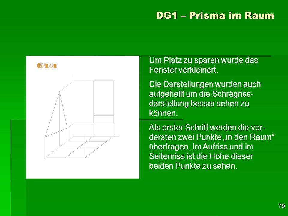 79 DG1 – Prisma im Raum Um Platz zu sparen wurde das Fenster verkleinert. Die Darstellungen wurden auch aufgehellt um die Schrägriss- darstellung bess