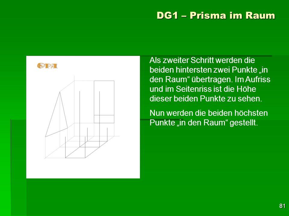 81 DG1 – Prisma im Raum Als zweiter Schritt werden die beiden hintersten zwei Punkte in den Raum übertragen. Im Aufriss und im Seitenriss ist die Höhe