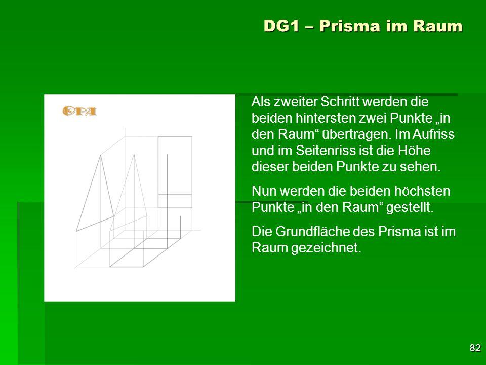 82 DG1 – Prisma im Raum Als zweiter Schritt werden die beiden hintersten zwei Punkte in den Raum übertragen. Im Aufriss und im Seitenriss ist die Höhe