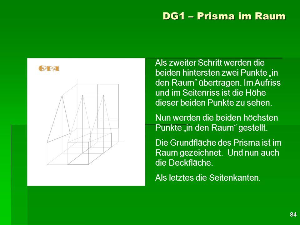 84 DG1 – Prisma im Raum Als zweiter Schritt werden die beiden hintersten zwei Punkte in den Raum übertragen. Im Aufriss und im Seitenriss ist die Höhe