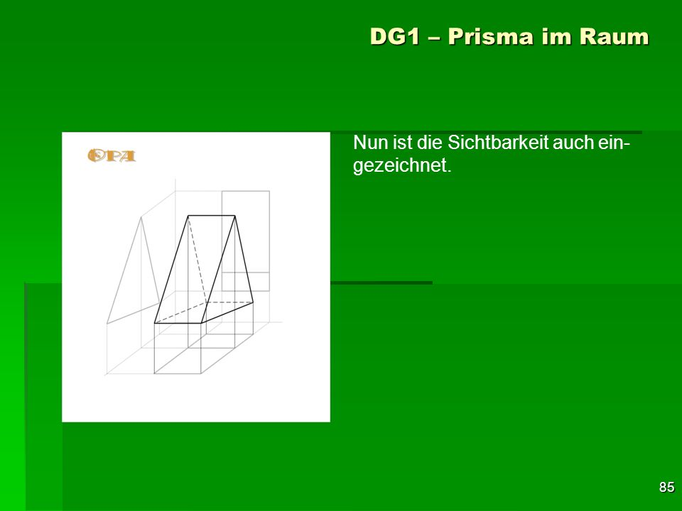 85 DG1 – Prisma im Raum Nun ist die Sichtbarkeit auch ein- gezeichnet.