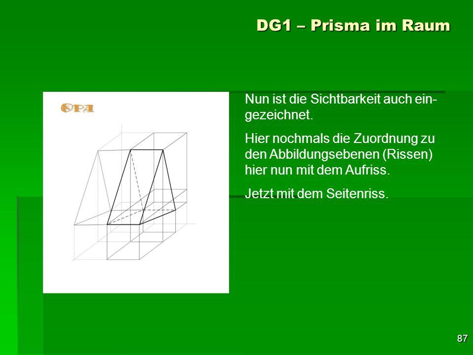 87 DG1 – Prisma im Raum Nun ist die Sichtbarkeit auch ein- gezeichnet. Hier nochmals die Zuordnung zu den Abbildungsebenen (Rissen) hier nun mit dem A