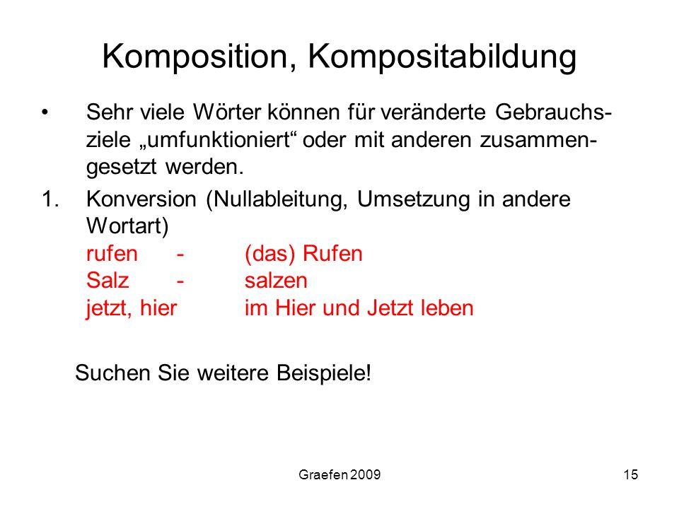 Graefen 200915 Komposition, Kompositabildung Sehr viele Wörter können für veränderte Gebrauchs- ziele umfunktioniert oder mit anderen zusammen- gesetz