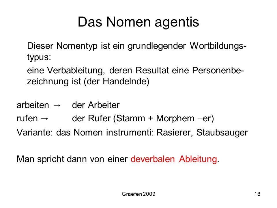 Graefen 200918 Das Nomen agentis Dieser Nomentyp ist ein grundlegender Wortbildungs- typus: eine Verbableitung, deren Resultat eine Personenbe- zeichn
