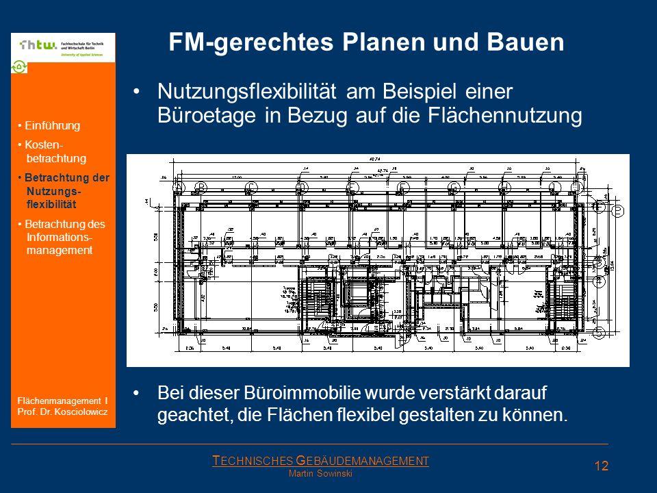 T ECHNISCHES G EBÄUDEMANAGEMENT Martin Sowinski FM-gerechtes Planen und Bauen Nutzungsflexibilität am Beispiel einer Büroetage in Bezug auf die Fläche