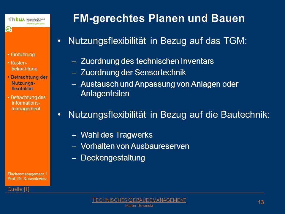 T ECHNISCHES G EBÄUDEMANAGEMENT Martin Sowinski FM-gerechtes Planen und Bauen Nutzungsflexibilität in Bezug auf das TGM: –Zuordnung des technischen In