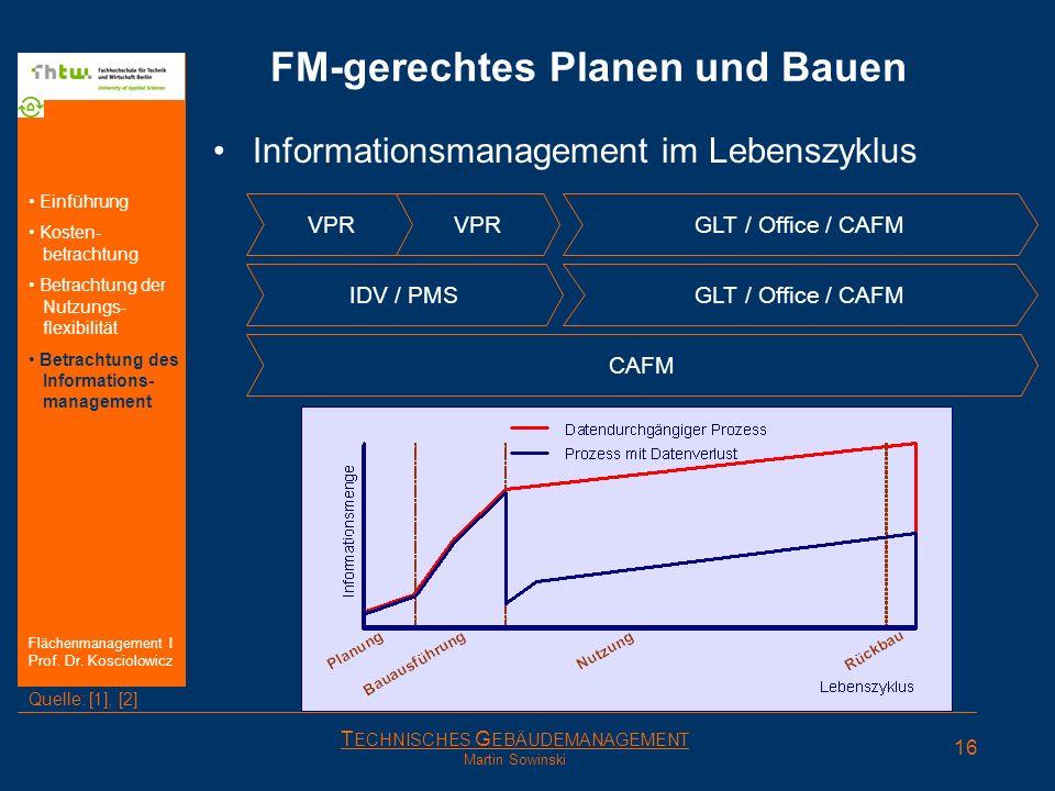 T ECHNISCHES G EBÄUDEMANAGEMENT Martin Sowinski FM-gerechtes Planen und Bauen Informationsmanagement im Lebenszyklus VPR GLT / Office / CAFM IDV / PMS