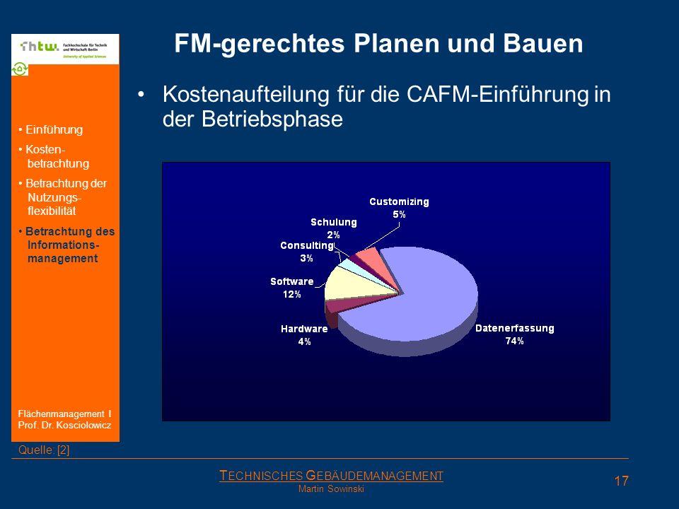 T ECHNISCHES G EBÄUDEMANAGEMENT Martin Sowinski FM-gerechtes Planen und Bauen Kostenaufteilung für die CAFM-Einführung in der Betriebsphase 17 Einführ