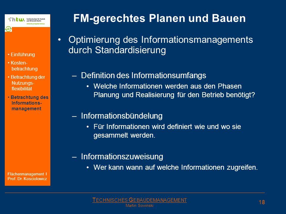 T ECHNISCHES G EBÄUDEMANAGEMENT Martin Sowinski FM-gerechtes Planen und Bauen Optimierung des Informationsmanagements durch Standardisierung –Definiti