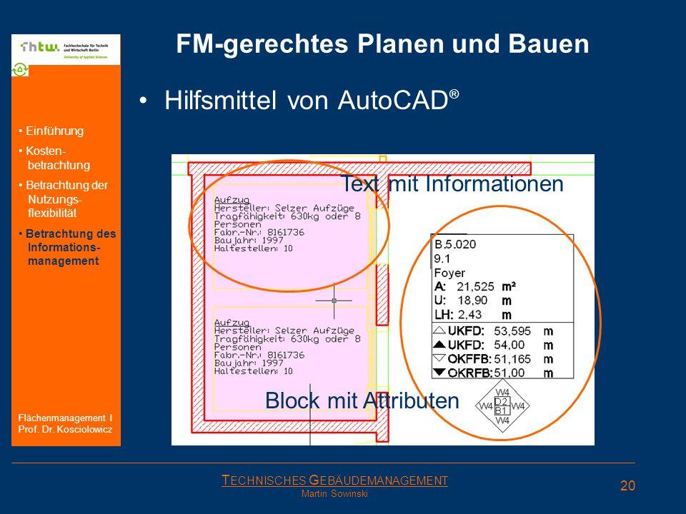 T ECHNISCHES G EBÄUDEMANAGEMENT Martin Sowinski FM-gerechtes Planen und Bauen Hilfsmittel von AutoCAD ® Text mit Informationen Block mit Attributen 20