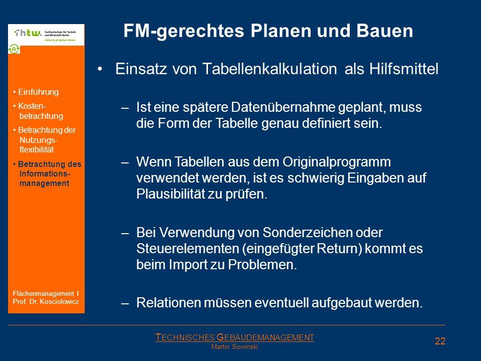 T ECHNISCHES G EBÄUDEMANAGEMENT Martin Sowinski FM-gerechtes Planen und Bauen Einsatz von Tabellenkalkulation als Hilfsmittel –Ist eine spätere Datenü