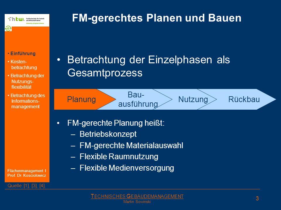 T ECHNISCHES G EBÄUDEMANAGEMENT Martin Sowinski Planung FM-gerechtes Planen und Bauen Betrachtung der Einzelphasen als Gesamtprozess Einführung Kosten