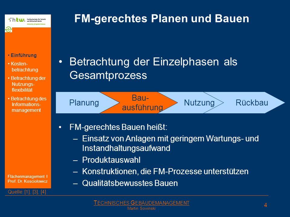 T ECHNISCHES G EBÄUDEMANAGEMENT Martin Sowinski Planung FM-gerechtes Planen und Bauen Betrachtung der Einzelphasen als Gesamtprozess FM-gerechte Planu