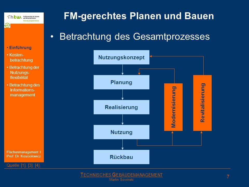 T ECHNISCHES G EBÄUDEMANAGEMENT Martin Sowinski FM-gerechtes Planen und Bauen Betrachtung des Gesamtprozesses Nutzungskonzept Planung Realisierung Rüc
