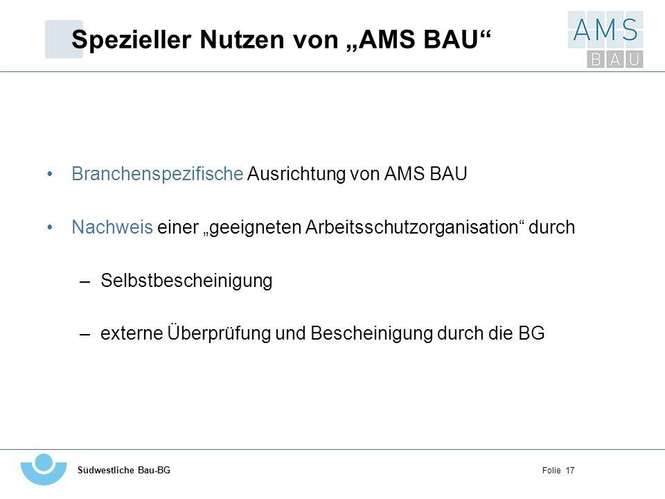 Südwestliche Bau-BG Folie 17 Spezieller Nutzen von AMS BAU Branchenspezifische Ausrichtung von AMS BAU Nachweis einer geeigneten Arbeitsschutzorganisa