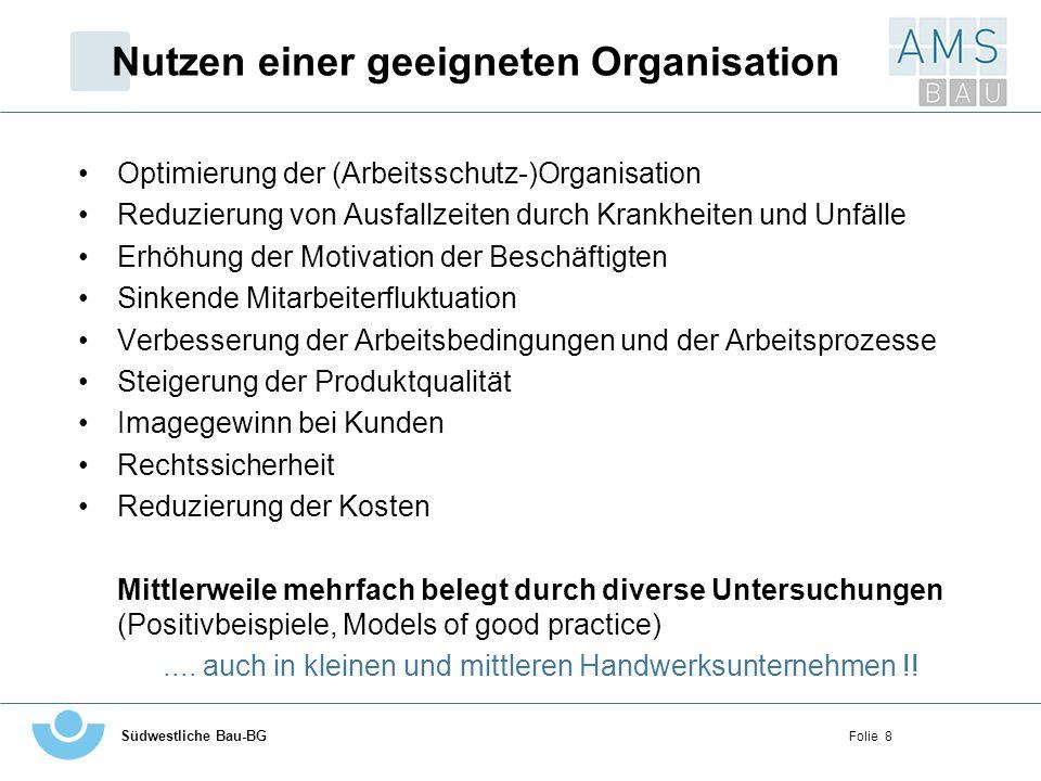 Südwestliche Bau-BG Folie 19 Organigramm eines Beispielunternehmens Geschäftsführer Vorarbeiter Bauhof Containerdienst/LK W TBDAMD SteuerberaterKaufm.
