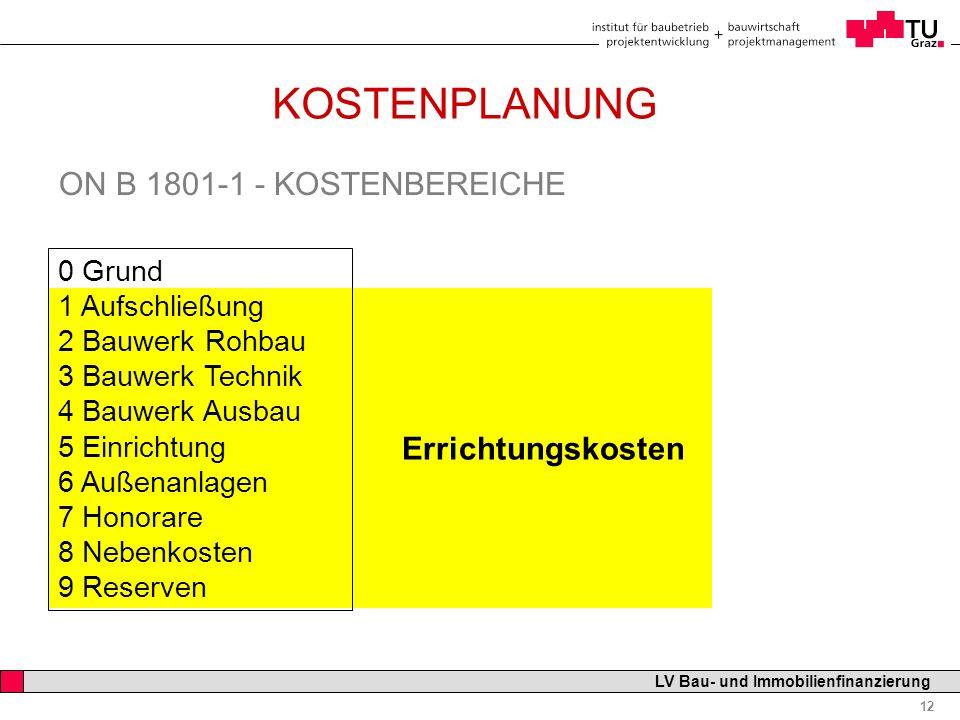 Professor Horst Cerjak, 19.12.2005 12 LV Bau- und Immobilienfinanzierung KOSTENPLANUNG ON B 1801-1 - KOSTENBEREICHE 0 Grund 1 Aufschließung 2 Bauwerk