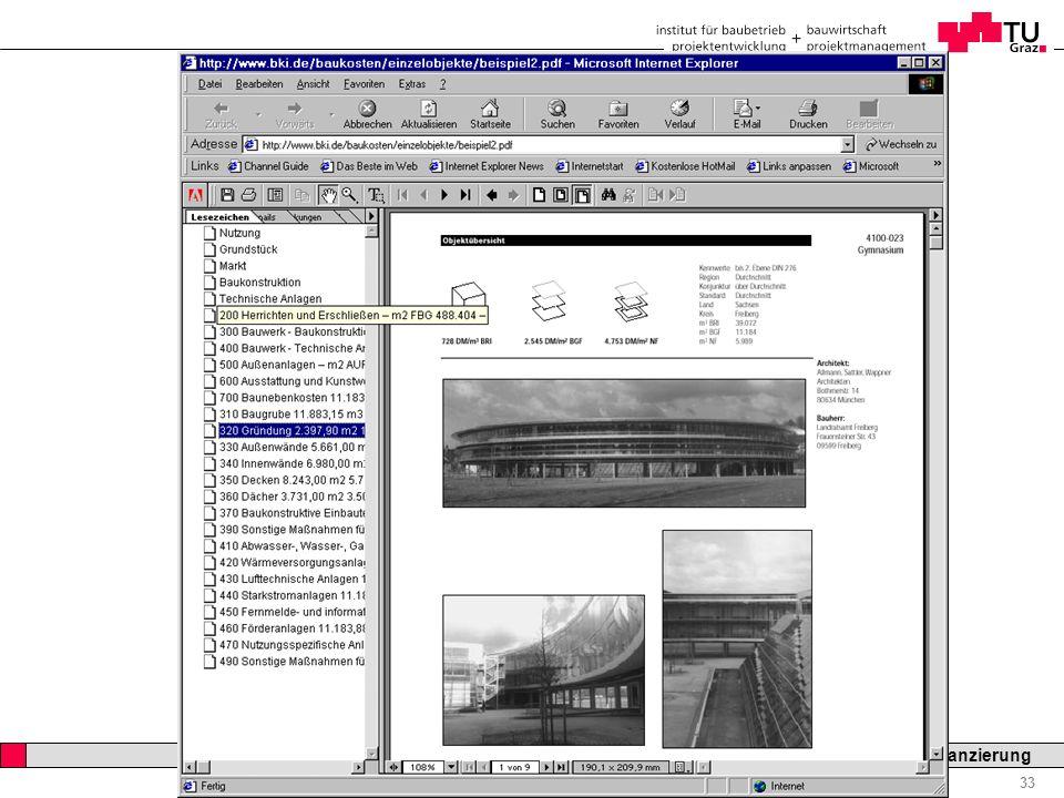 Professor Horst Cerjak, 19.12.2005 33 LV Bau- und Immobilienfinanzierung KOSTENPLANUNG