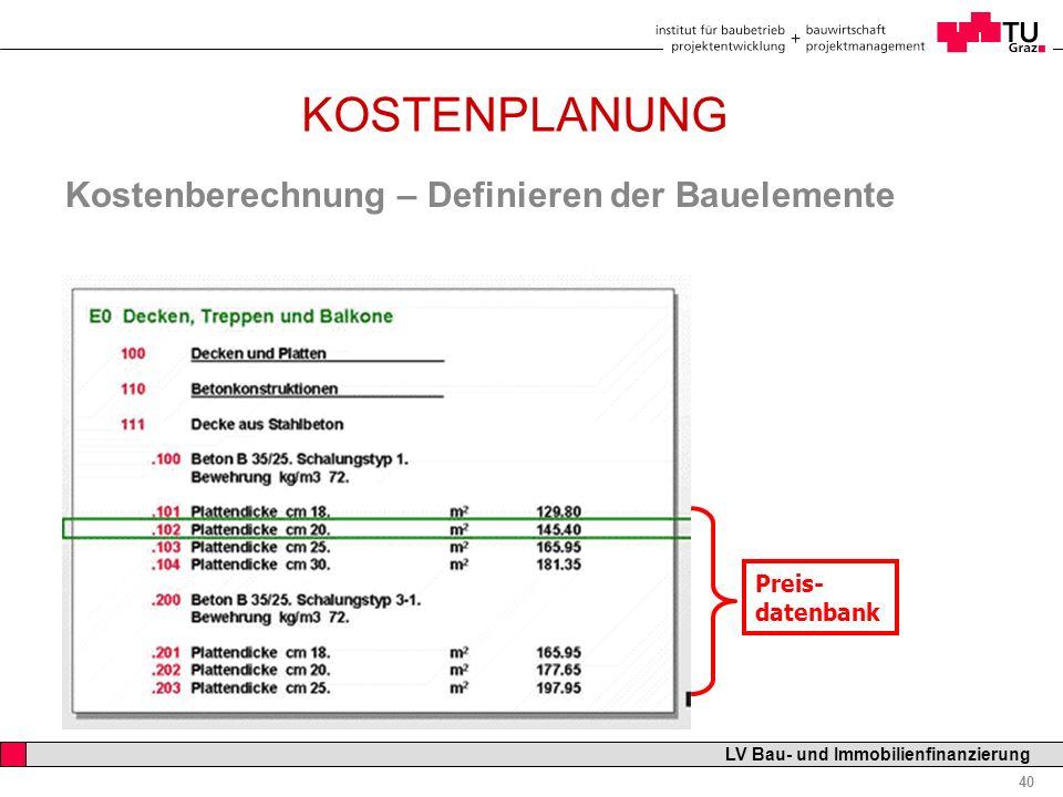 Professor Horst Cerjak, 19.12.2005 40 LV Bau- und Immobilienfinanzierung KOSTENPLANUNG Kostenberechnung – Definieren der Bauelemente Preis- datenbank