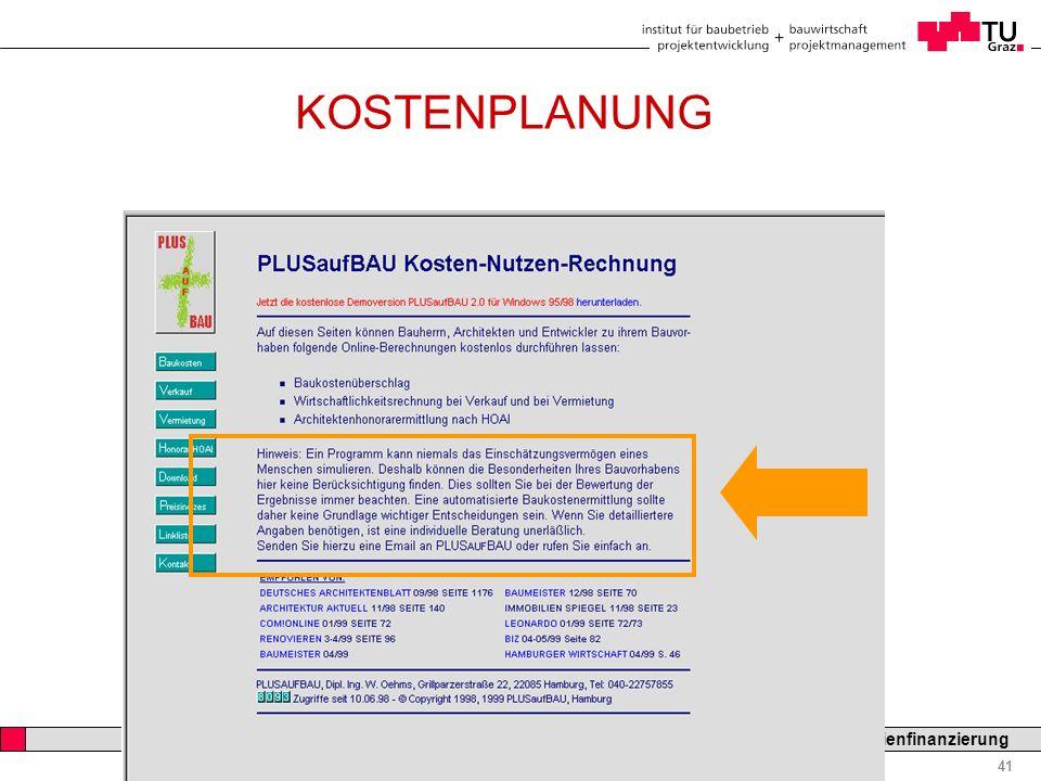 Professor Horst Cerjak, 19.12.2005 41 LV Bau- und Immobilienfinanzierung KOSTENPLANUNG