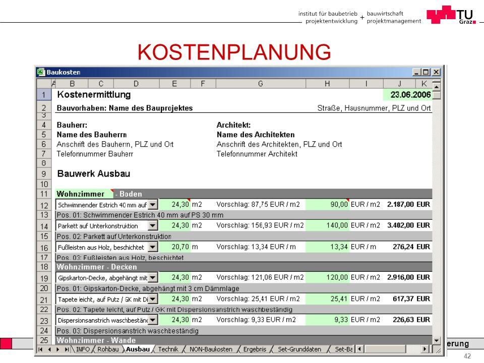 Professor Horst Cerjak, 19.12.2005 42 LV Bau- und Immobilienfinanzierung KOSTENPLANUNG