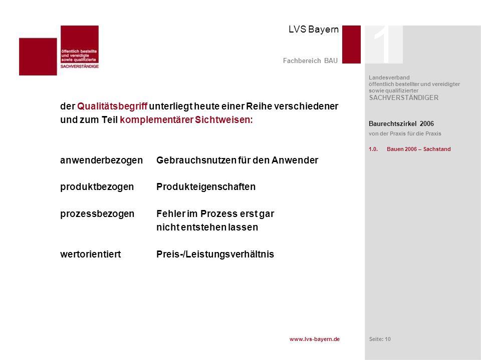 www.lvs-bayern.de LVS Bayern Landesverband öffentlich bestellter und vereidigter sowie qualifizierter SACHVERSTÄNDIGER Seite: 10 Fachbereich BAU der Q