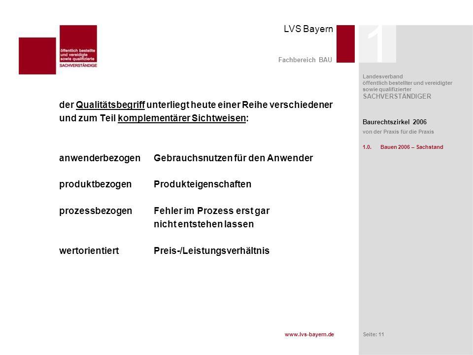 www.lvs-bayern.de LVS Bayern Landesverband öffentlich bestellter und vereidigter sowie qualifizierter SACHVERSTÄNDIGER Seite: 11 Fachbereich BAU der Q